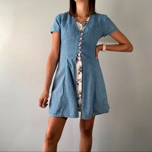 90's denim & floral button front dress